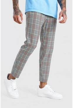 Red Skinny Cropped Smart Check Trouser