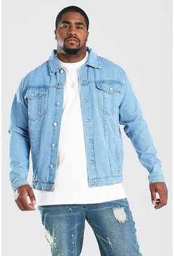 Chaqueta estilo Western en denim de entalle regular Big & Tall, Azul claro