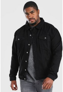 Chaqueta estilo Western en denim de entalle regular Big & Tall, Negro