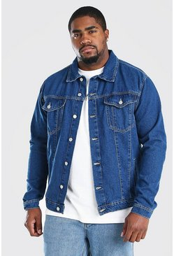 Chaqueta estilo Western en denim de entalle regular Big & Tall, Azul medio