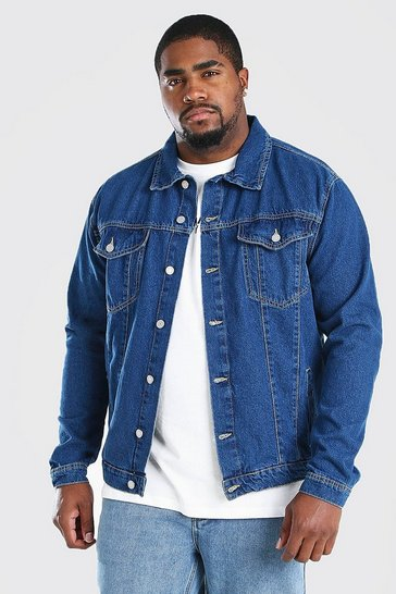 Mid blue Big And Tall Regular Denim Western Jacket