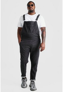 Charcoal Big And Tall Long Denim Dungarees