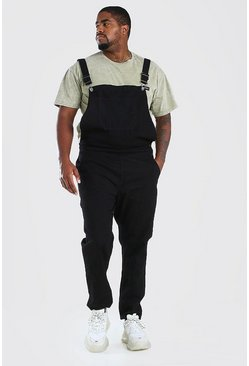 Black Big And Tall Long Denim Dungarees