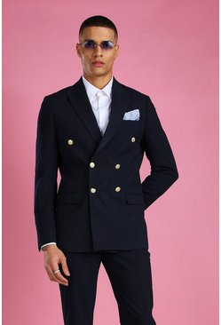 Navy Skinny Fit Double Breasted Suit Jacket