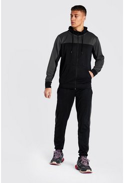 Black Tricot Colour Block Zip Through Tracksuit