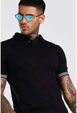 Black Knitted Muscle Fit Polo With Contrast Detail