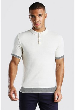 Ivory Knitted Muscle Fit Polo With Contrast Detail