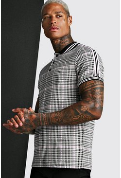 Black MAN Signature Jacquard Check Polo With Tape