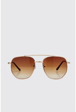 Brown Hexagon Top Bar Sunglasses
