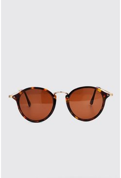 Brown Tortoise Retro Round Sunglasses