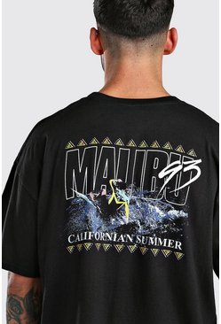 Black Oversized Malibu Surf Printed T-Shirt