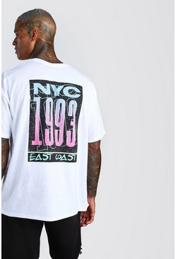 White Oversized NYC East Coast Back Print T-Shirt