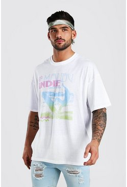 White Oversized Surf Graphic Printed T-Shirt