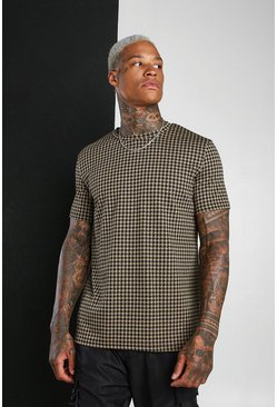 Tan Dogtooth Jacquard T-Shirt