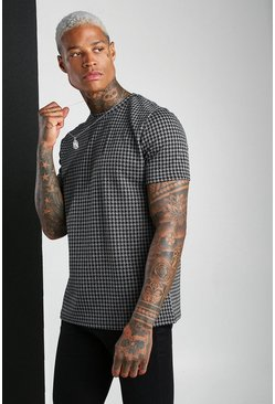 Charcoal Dogtooth Jacquard T-Shirt