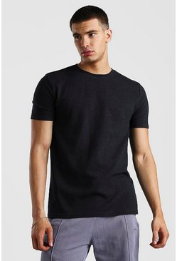 Black Textured Jacquard T-Shirt