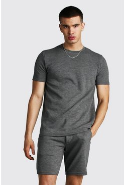 Grey Textured Jacquard T-Shirt