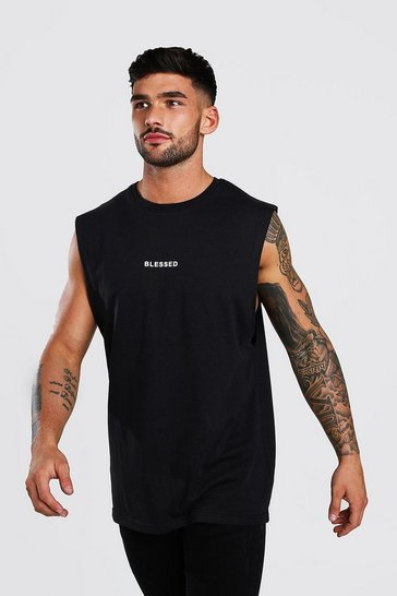 Black Blessed Print Drop Armhole Tank