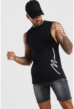 Black MAN Signature Side Print Drop Armhole Tank
