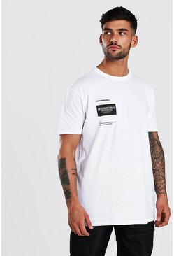 Camiseta ancha con estampado International MAN, Blanco