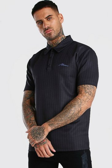 Black MAN Signature Pinstripe Polo