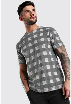 Black MAN Signature Printed Checked T-Shirt