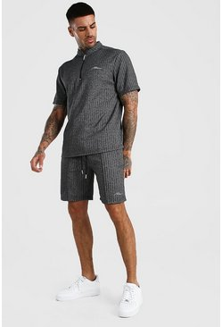 Charcoal MAN Signature Jacquard Zip Polo & Short Set