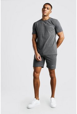 Dark grey MAN Signature Jacquard T-Shirt & Short Set