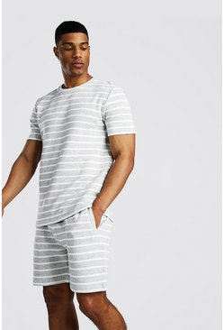 Grey Stripe Fleece T-Shirt & Short Set