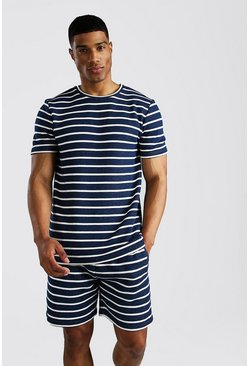 Navy Stripe Fleece T-Shirt & Short Set
