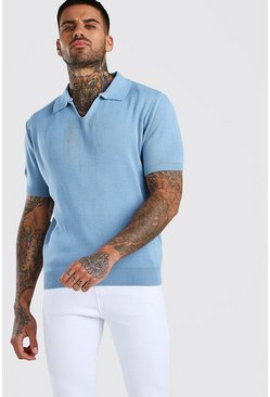 Dusty blue Short Sleeve Notch Neck Knitted Polo