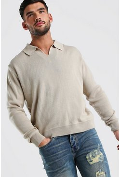 Taupe Long Sleeve Notch Neck Knitted Polo