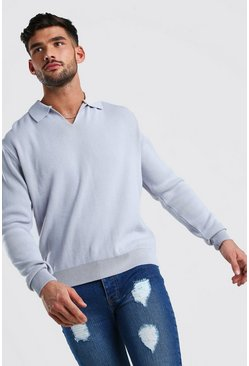 Silver grey Long Sleeve Notch Neck Knitted Polo