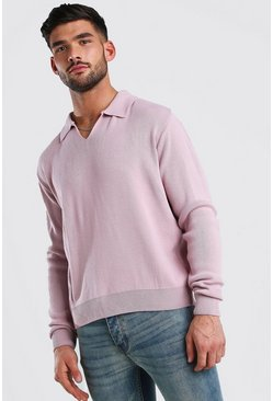 Dusky pink Long Sleeve Notch Neck Knitted Polo