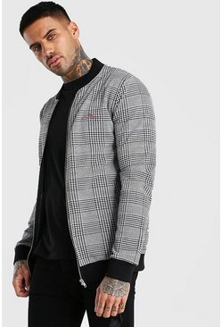 Black MAN Signature Houndstooth Bomber