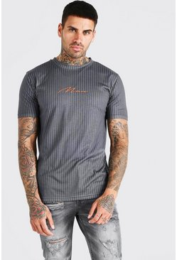 Grey MAN Signature Pinstripe T-Shirt