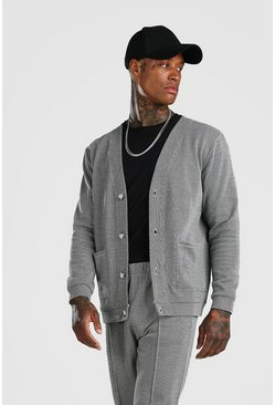 Grey Smart Jacquard Cardigan And Pintuck Jogger Set