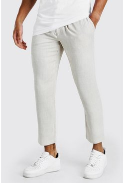 Stone Skinny Linen Look Pintuck Trousers