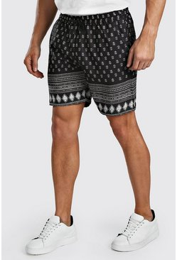 Black Short In Border Print
