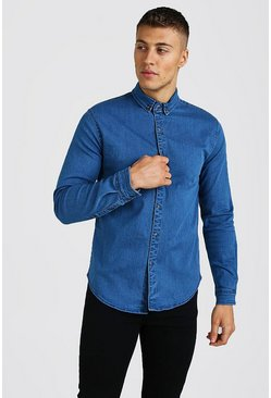 Mid blue Muscle Fit Long Sleeve Denim Shirt