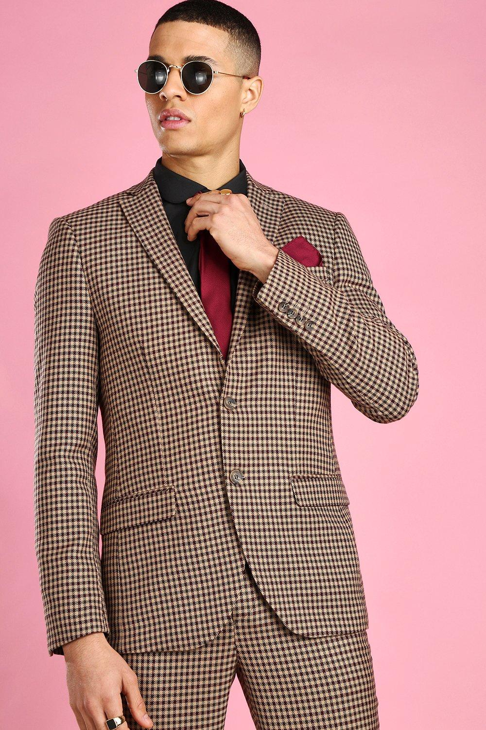 60s 70s Men's Clothing UK | Shirts, Trousers, Shoes Mens Skinny Heritage Dogtooth Flannel Suit Jacket - Beige $30.00 AT vintagedancer.com