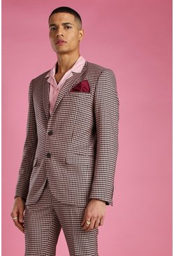 Pink Skinny Heritage Dogtooth Check Suit Jacket