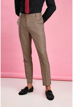 Taupe Skinny Heritage Dogtooth Check Suit Pants