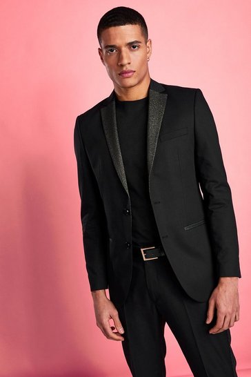 Black Skinny Metallic Prom Suit Jacket