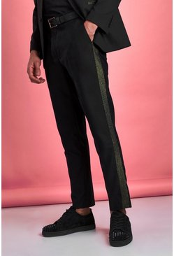 Black Skinny Metallic Prom Suit Pants