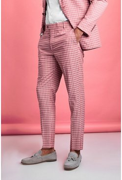 Pink Skinny Tonal Dogtooth Check Prom Suit Pants