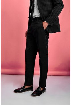 Black Skinny Tonal Dogtooth Check Prom Suit Pants