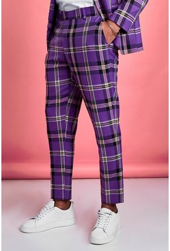 Purple Skinny Bold Check Cropped Suit Trouser