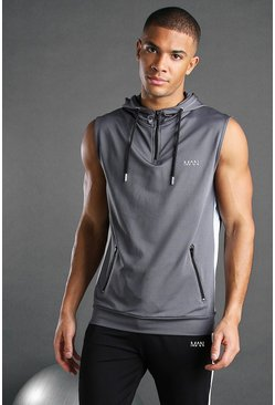 Charcoal MAN Active Poly Sleeveless Hooded Panelled Top