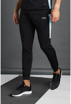 Black MAN Active Poly Skinny Jogger With Panel